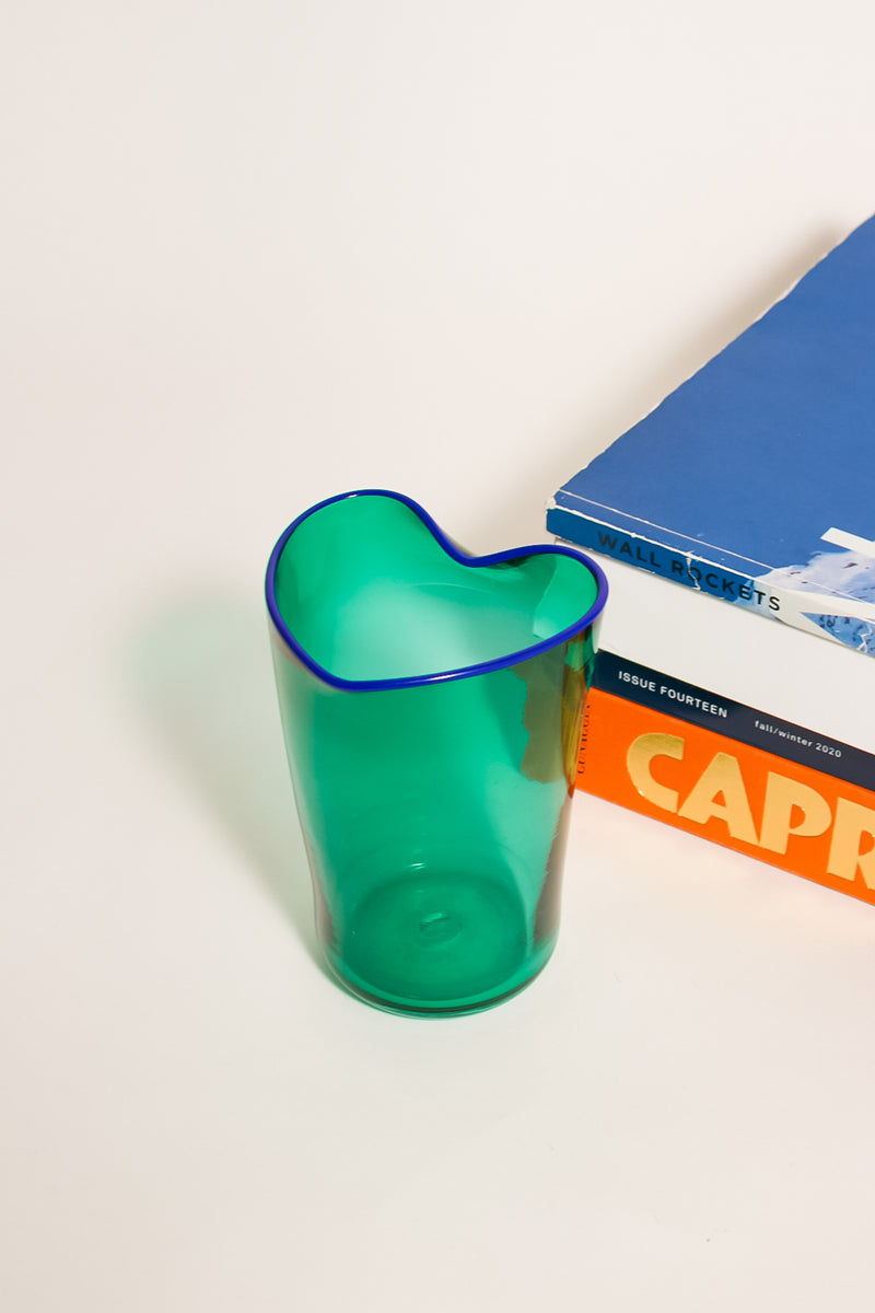 Artist Teal Heart Shaped Vase