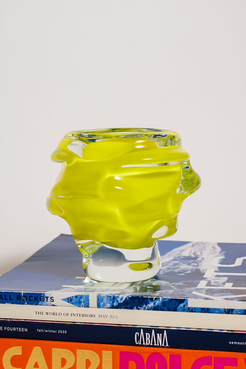 Czech Freeform Lemon Glass Vase