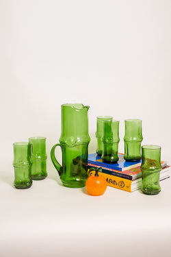 Italian Emerald Green Bamboo Style Pitcher Set