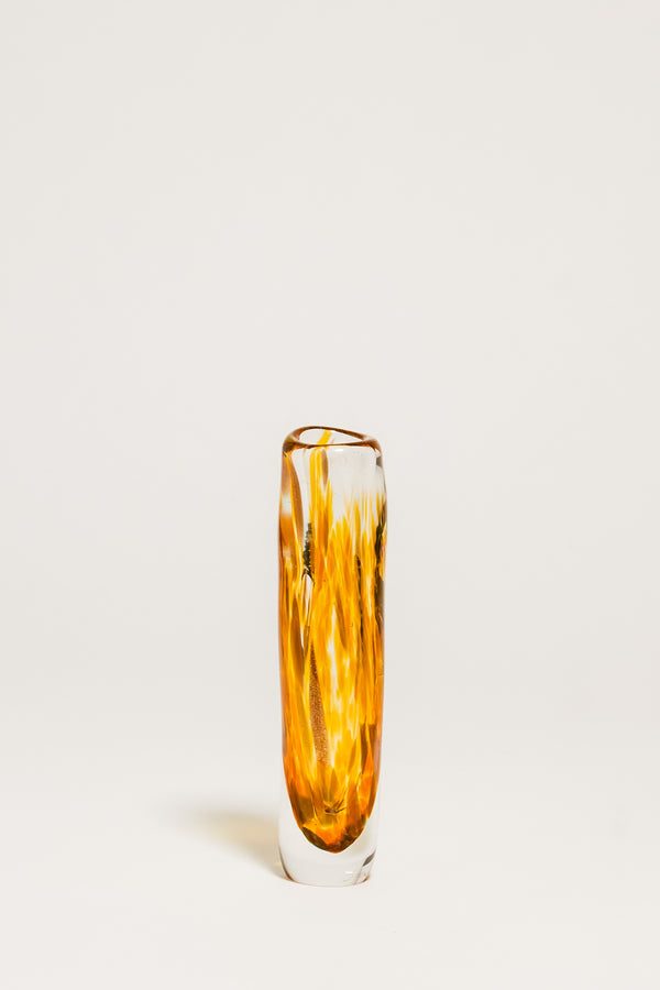 Gold Flecked Amber Art Glass Bud Vase