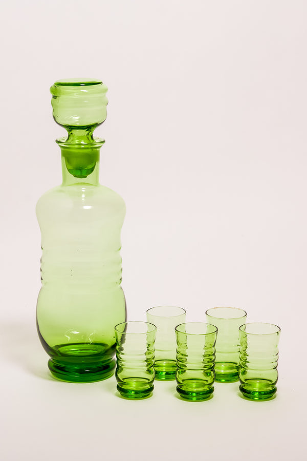 Absinthe Green Venetian Ribbed Glass Decanter Set