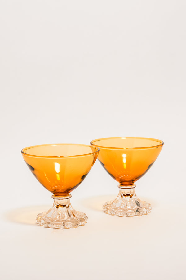 Golden Amber Pedestal Cocktail Glasses