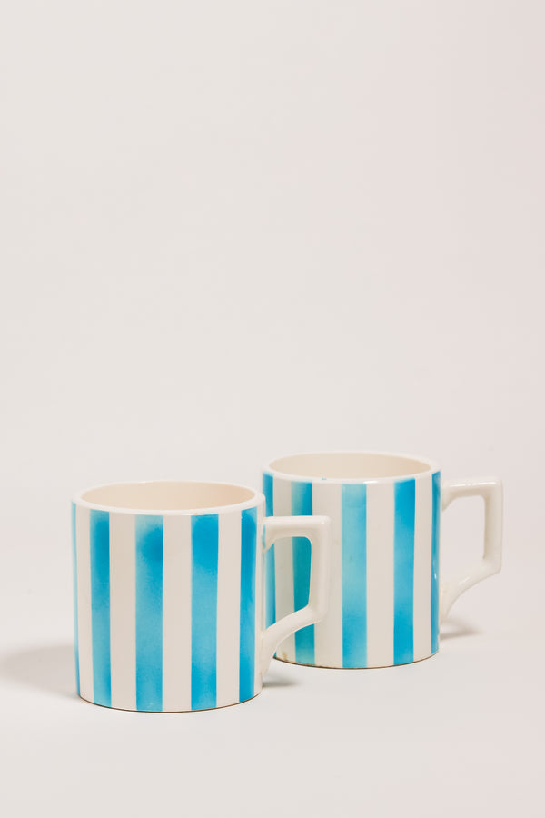 Japanese Mid Century Sky Blue Striped Coffee Mugs