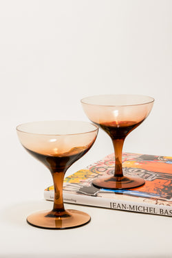Ombré Coffee Brown Cocktail Glasses