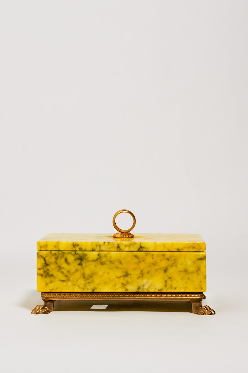 Italian Yellow Alabaster Footed Jewelry Box