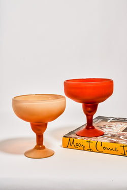 Creamy Peach and Persimmon Hand Blown Margarita Set