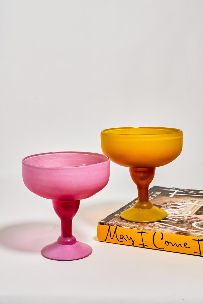 Candy Pink and Marigold Hand Blown Margarita Set