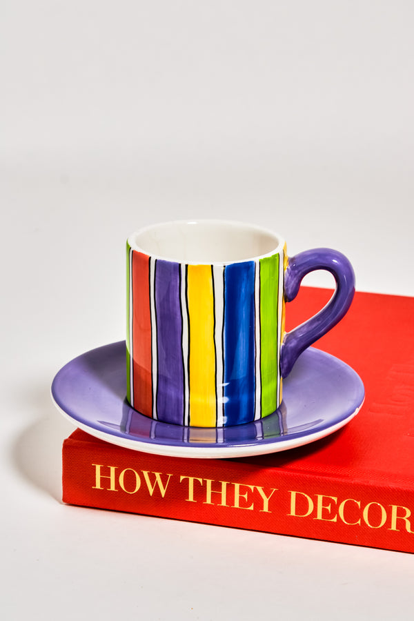 Painted Rainbow Stripe Demitasse Set