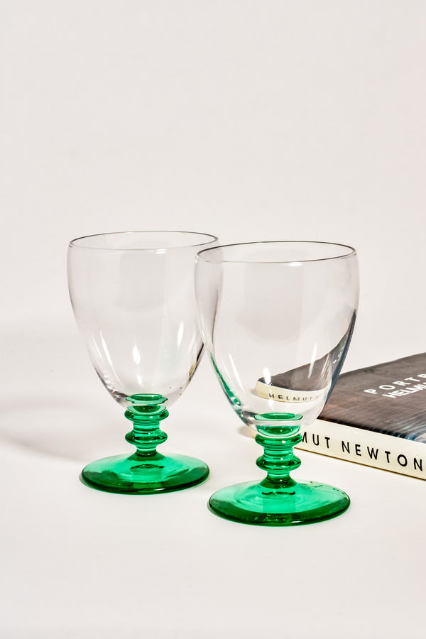 Ribbed Green Stem Water Goblets