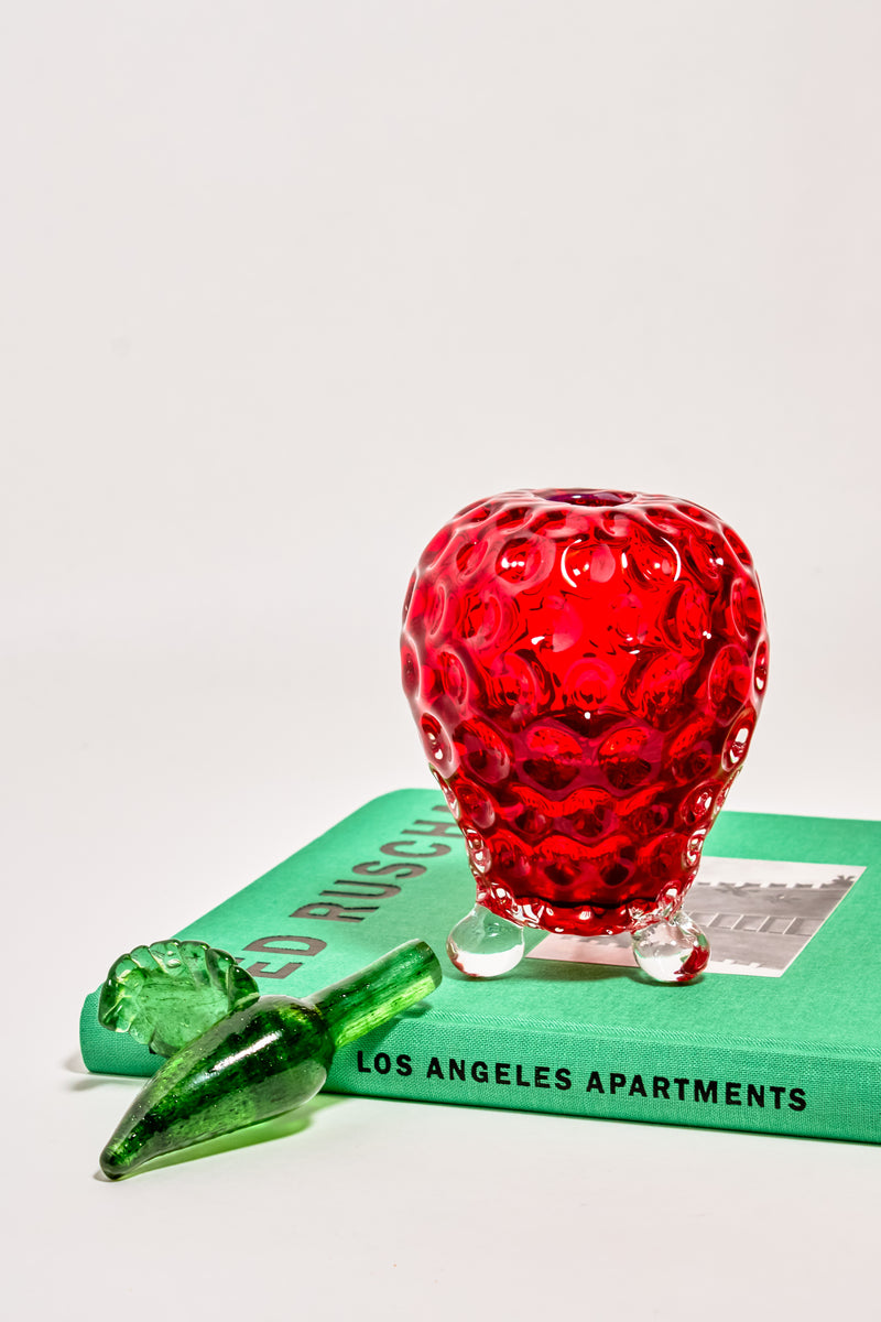 Strawberry Art Glass Bath Oil/Perfume Bottle