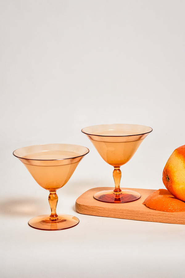 Amber Curved Stem Cocktail Glasses, Set of Two