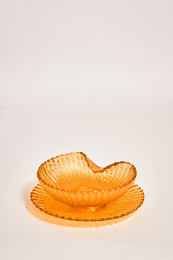 Italian Amber Shell Bowl and Saucer