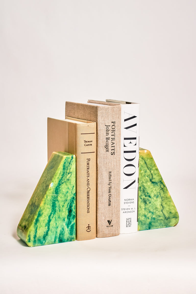 Italian Green Alabaster Bookends