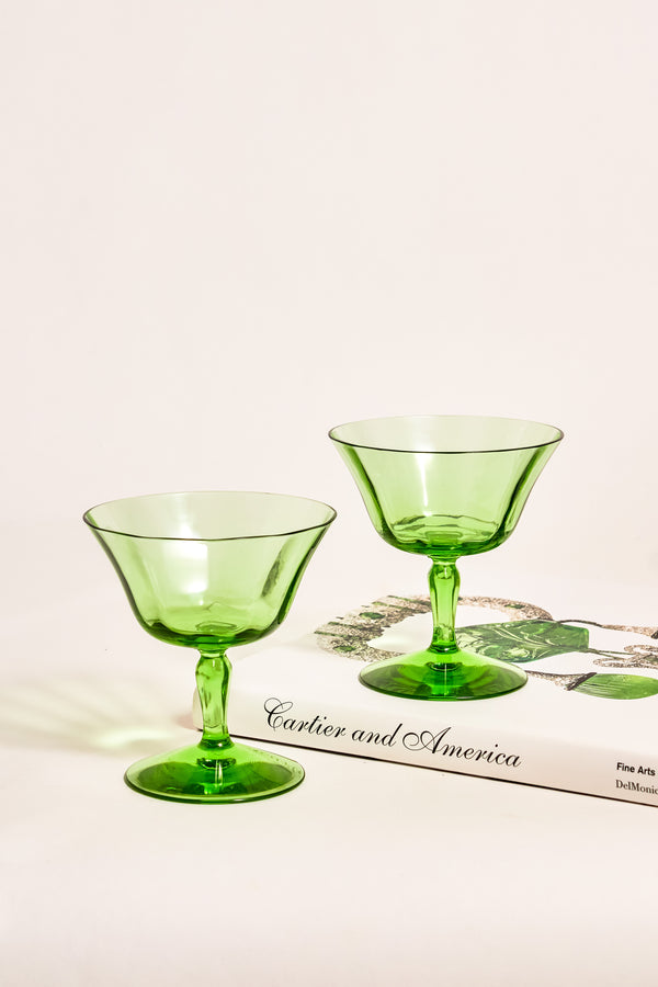 Leaf Green Cocktail Glasses Set of Two