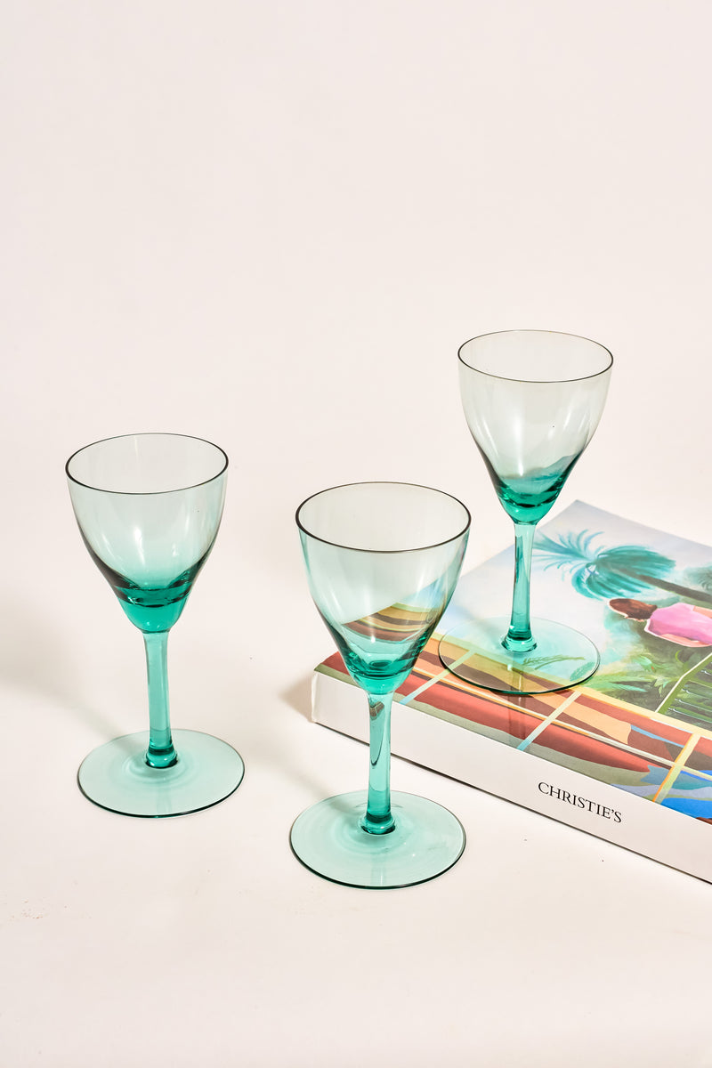 Set of Three Pale Turquoise Wine Glasses