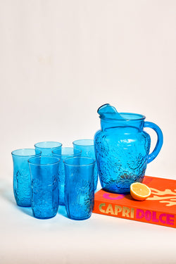 Azure Blue Pressed Glass Daisy Pitcher Set