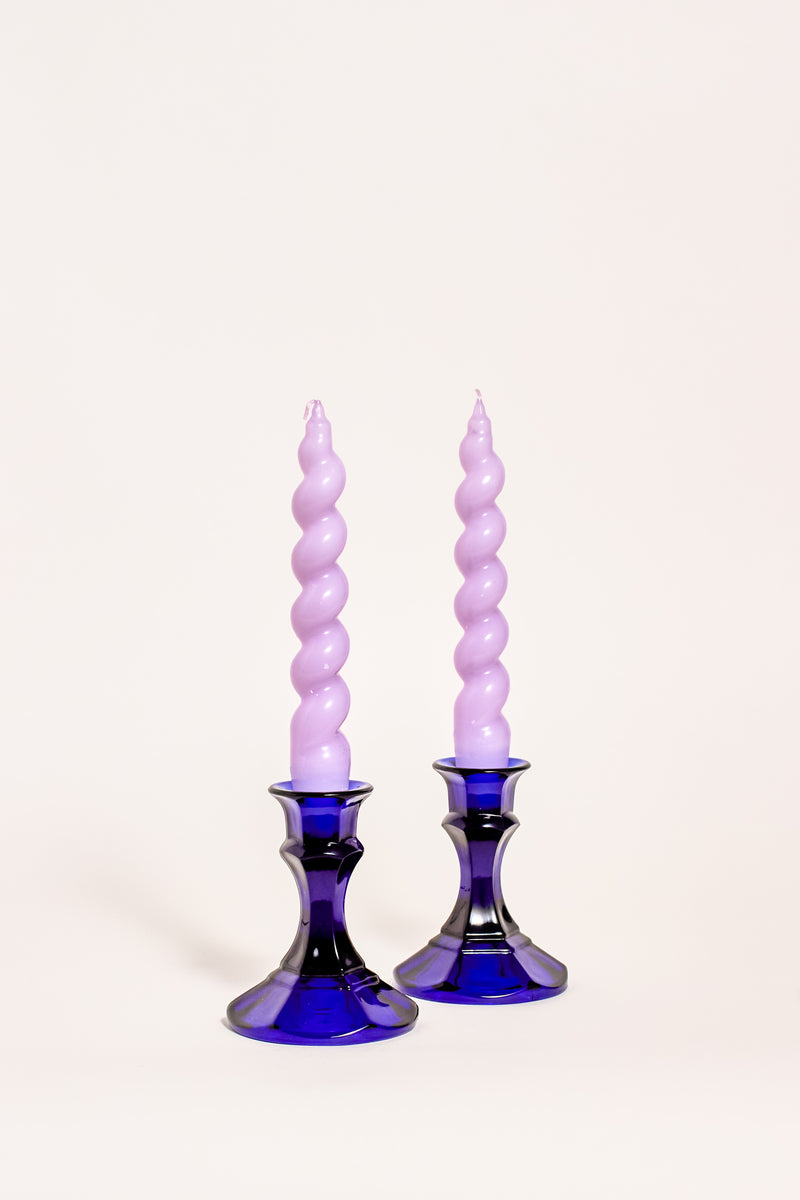 Pair of Cobalt Blue Faceted Candle Holders