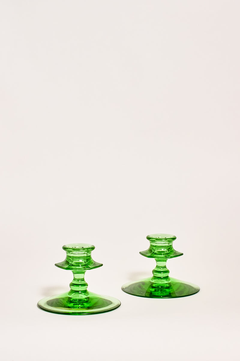 Pair of Green Glass Faceted Candle Holders