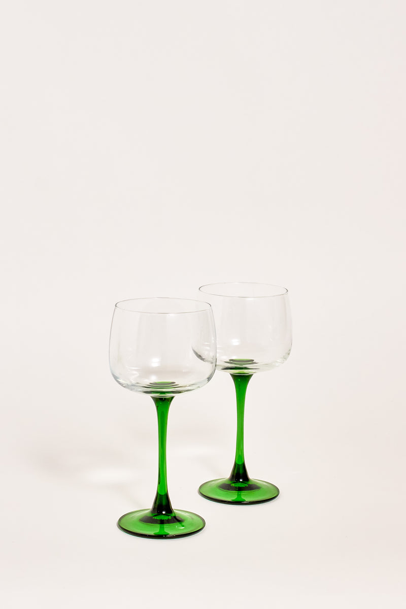 French Emerald Stem Wine Glasses, Set of Two