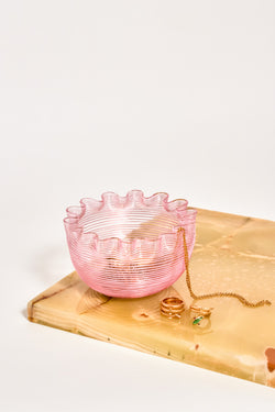 Baby Pink Threaded Glass Ruffle Bowl