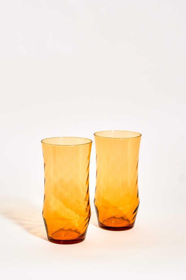 Amber Ice Tea Glasses Set of Two