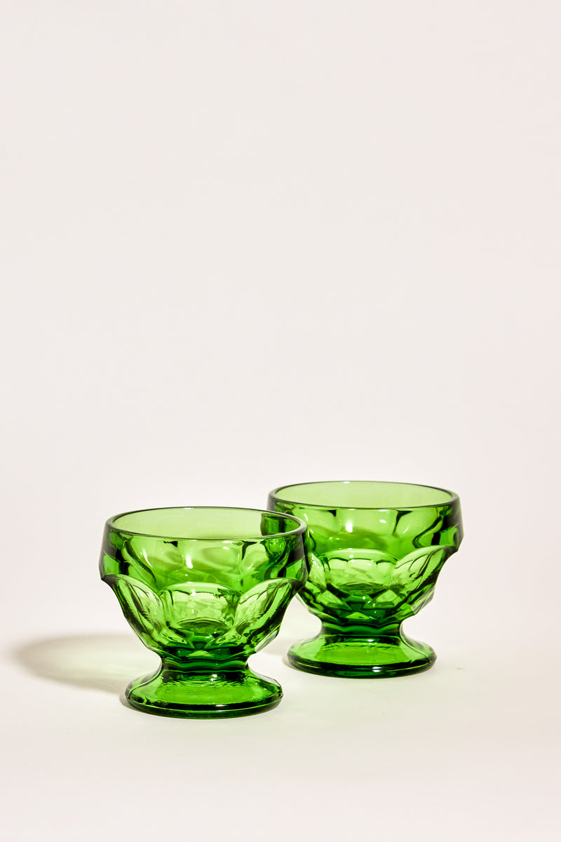 Emerald Green Faceted Glass Bowls Set of Two
