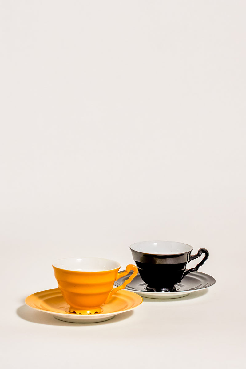 Yellow and Black Tea Cup Set of Two