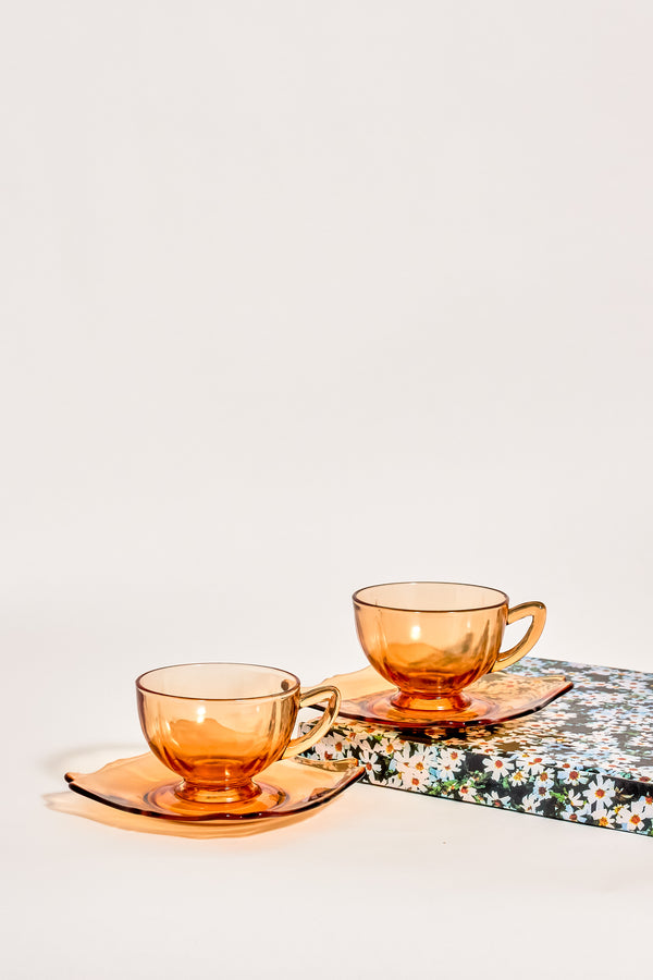 Amber Glass Teacup Set of Two