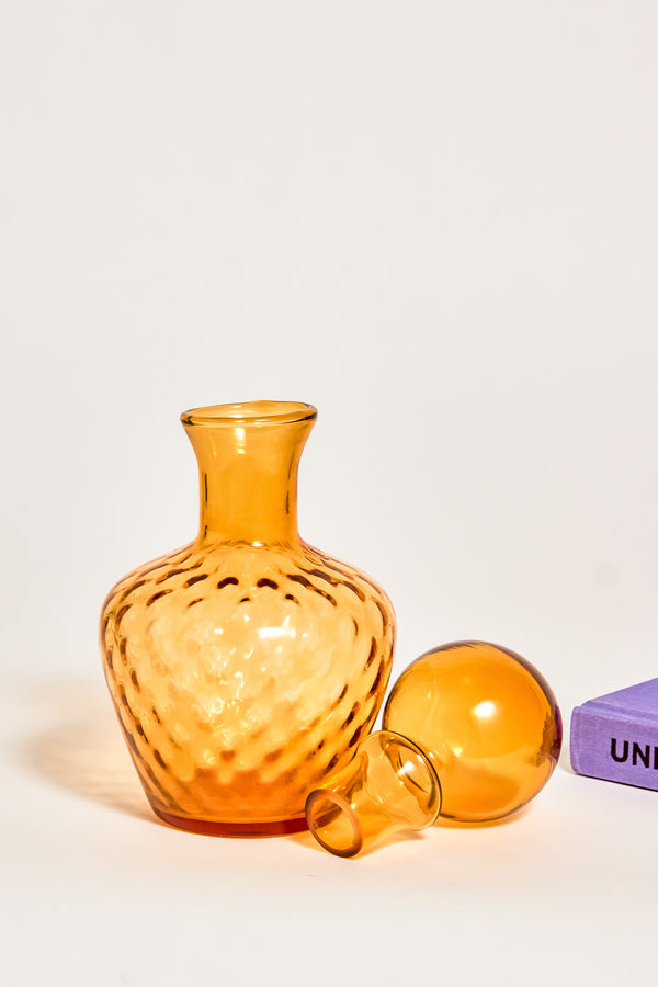 Amber Dimpled Glass Decanter