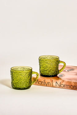 Olive Green Ridged Glass Coffee Cups Set of Two