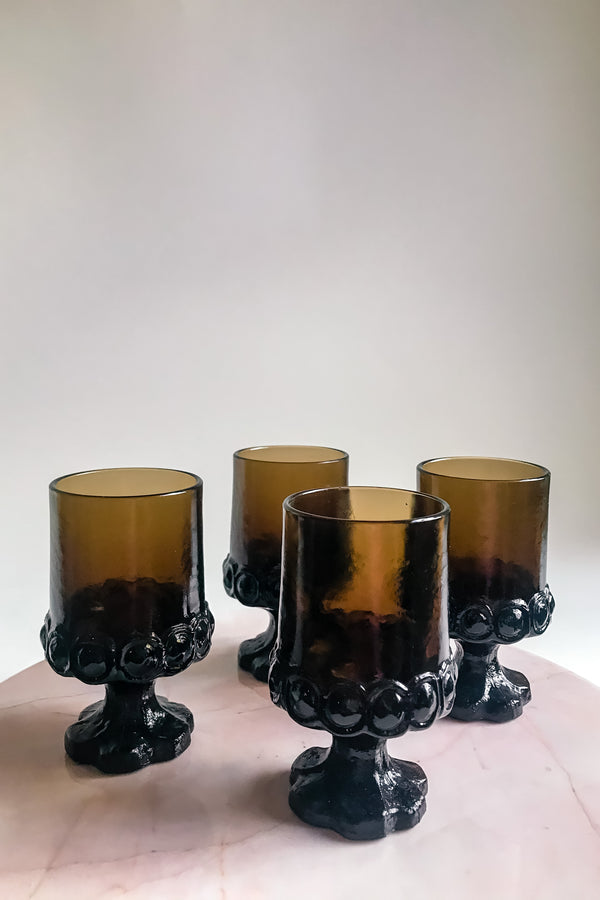 Pedestal Goblet Set of Four Glasses