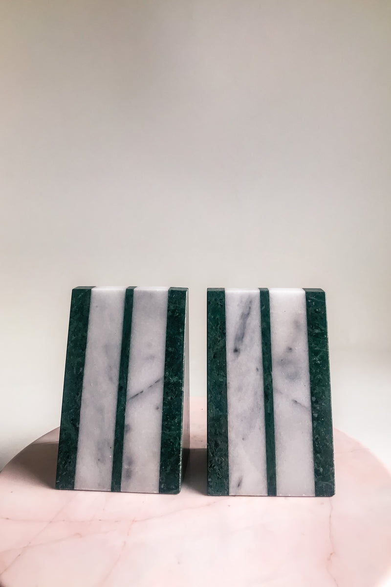 Green Deco Marble Bookends