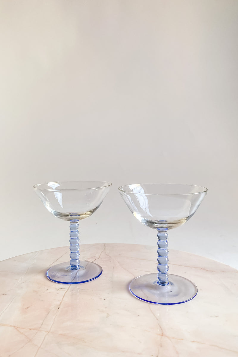 Pale Blue Ball Stem Glasses