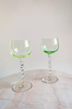 Two Tone Green Twisted Stem Wine Glasses