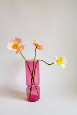 Cranberry Glass Cyclinder Vase