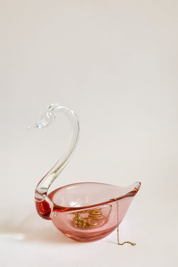 Pink Glass Swan Dish