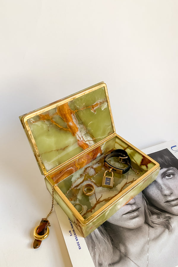 Italian Onyx Green Jewelry Box