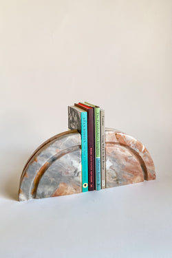 Italian Pink Marble Half Circle Bookends