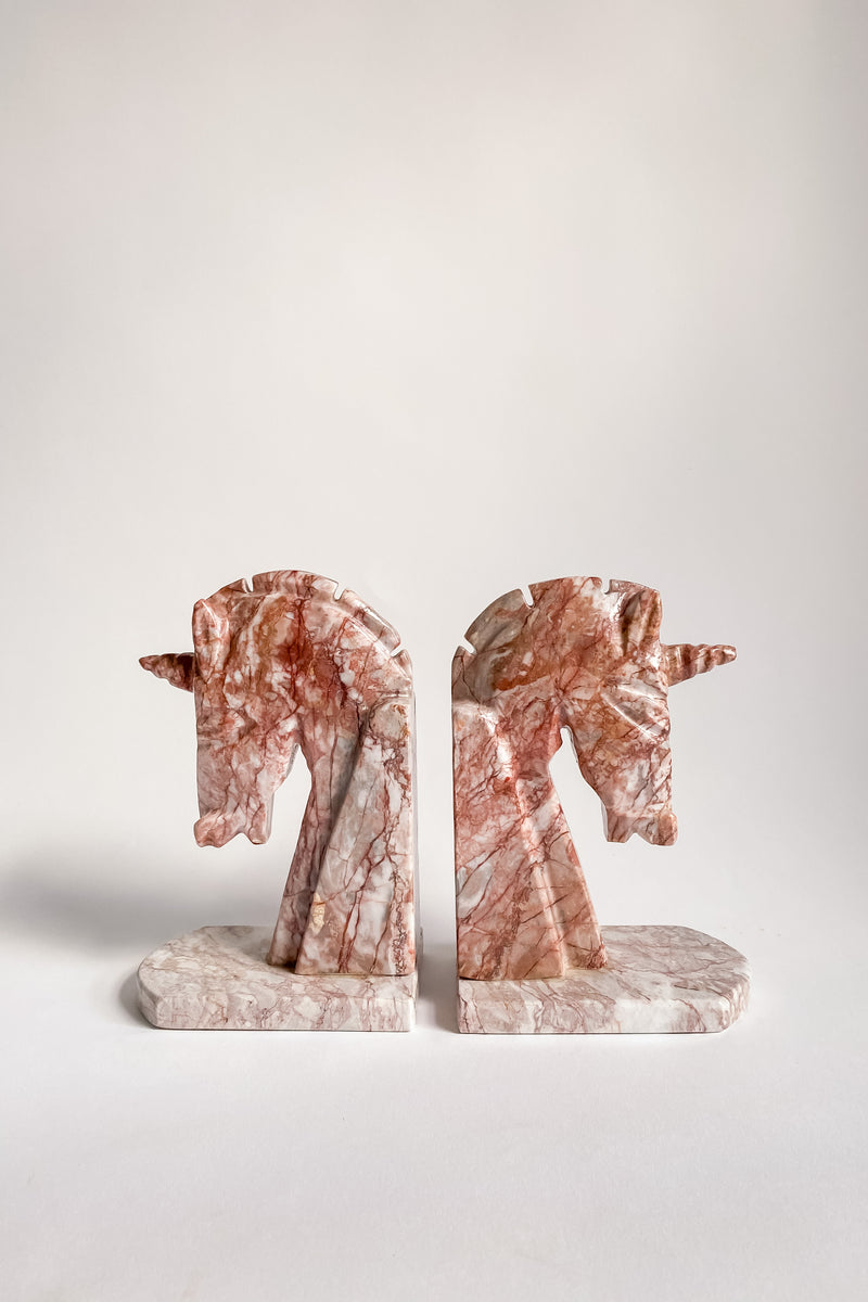 Rare Pink Marble Unicorn Bookends