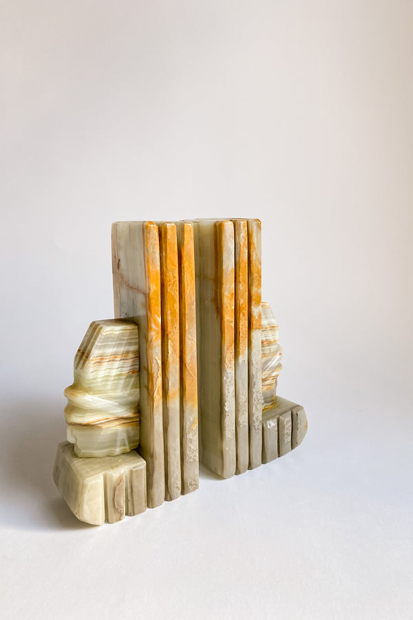 Green Onyx Carved Bookends