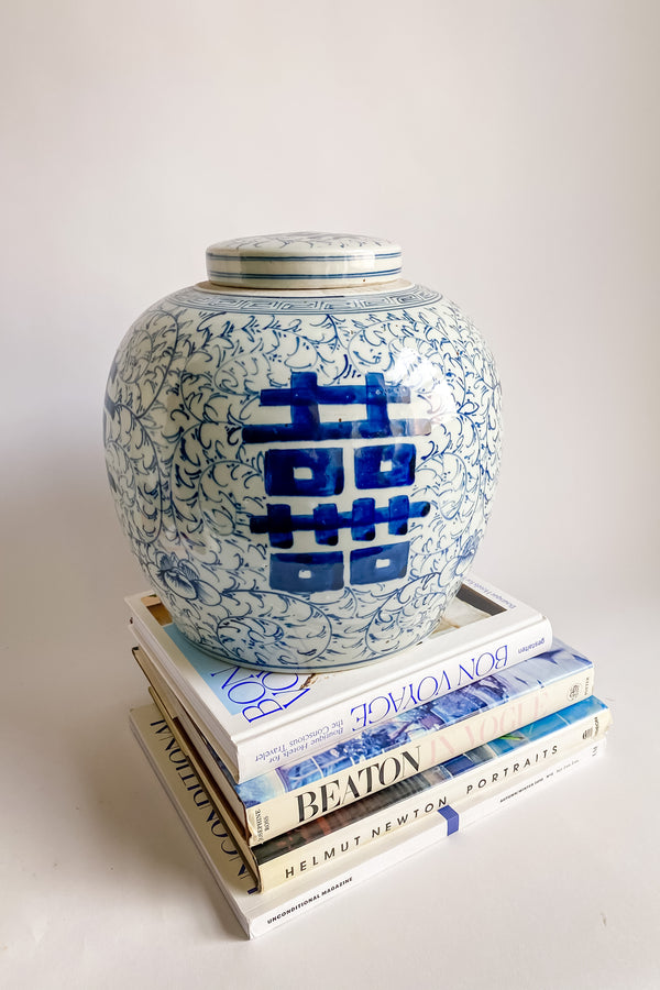 Large Chinoiserie Ceramic Jar