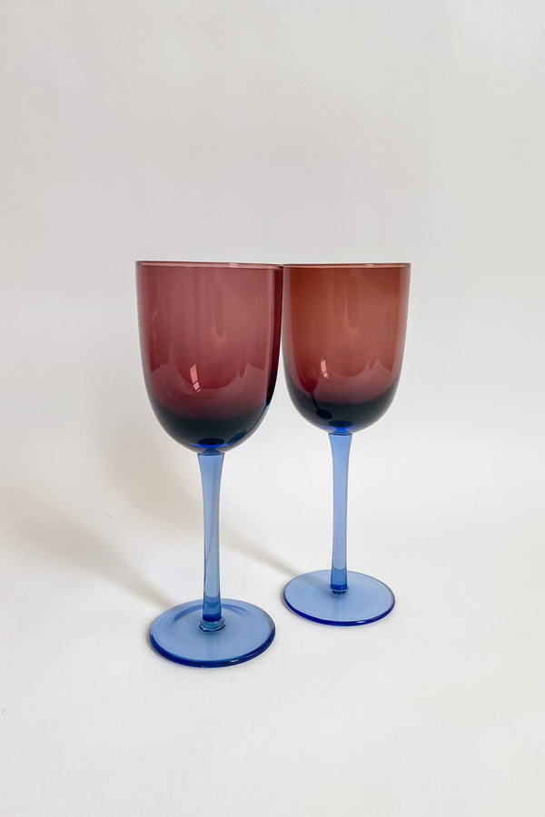 Aubergine and Sky Blue Wine Glasses