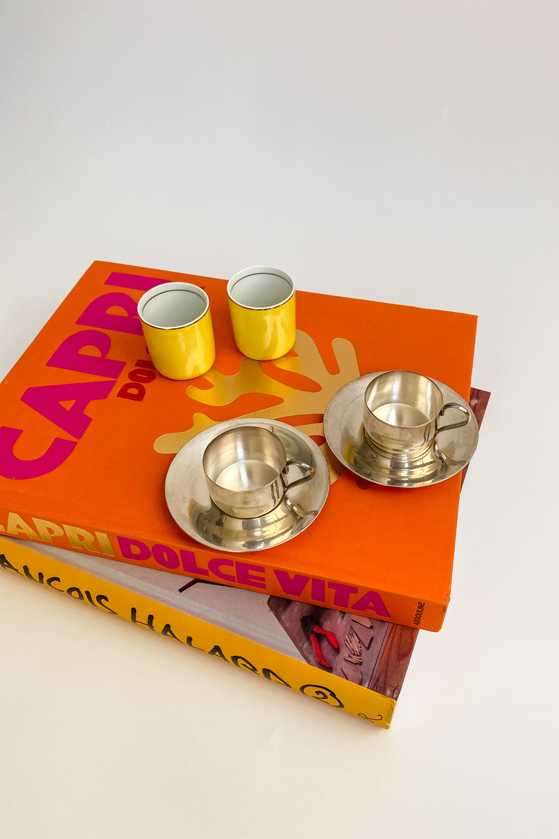 Canary Yellow/Silver Demitasse Set