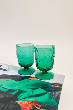 Green Textured Glass Goblets
