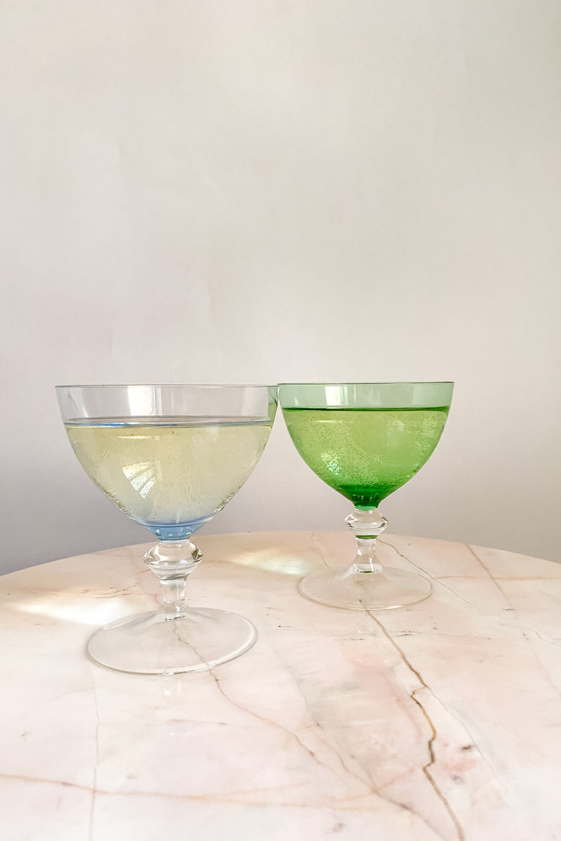 Blue and Green Champagne/Cocktail Glasses