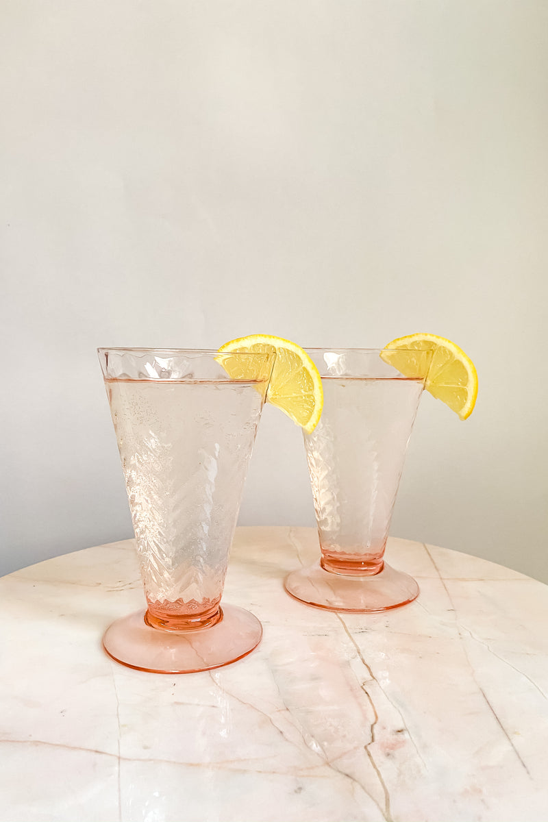 Pink Herringbone Tall Glasses