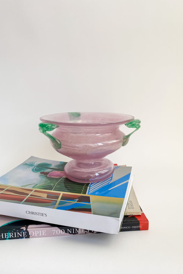 Murano Pale Lilac Pink and Sea Green Urn Vase