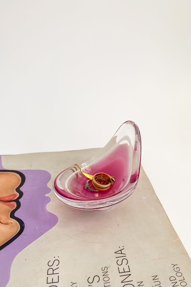 Swedish Art Glass Curved Catchall