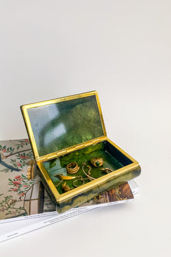 Forest Green Alabaster Jewelry Box
