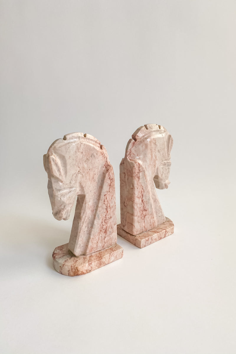 Pink Marble Horse Bookends